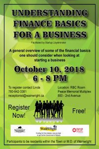 Understanding Finance Basics for a Business @ RBC Room - Peace Memorial Multiplex | Wainwright | Alberta | Canada