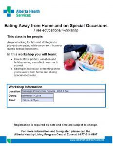 Eating Away From Home and on Special Occasions @ Wainwright Primary Care Network | Wainwright | Alberta | Canada