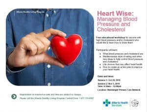 Heart Wise: Managing Blood Pressure and Cholesterol (Two sessions) @ Wainwright Primary Care Network | Wainwright | Alberta | Canada
