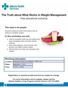 The Truth About What Works in Weight Management @ Wainwright Primary Care Network   Wainwright   Alberta   Canada