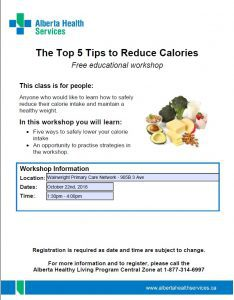 The Top 5 Tips to Reduce Calories @ Wainwright Primary Care Network | Wainwright | Alberta | Canada