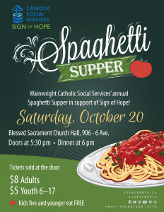 Catholic Social Services Annual Spaghetti Supper @ Blessed Sacrament Church Hall | Wainwright | Alberta | Canada
