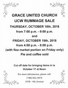 Grace United Church UCW Rummage Sale @ Grace United Church | Wainwright | Alberta | Canada