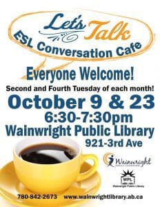 Let's Talk ESL Conversation Cafe @ Wainwright Public Library | Wainwright | Alberta | Canada