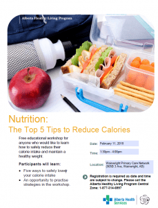 Nutrition: The Top 5 Tips to Reduce Calories @ Wainwright Primary Care Network | Wainwright | Alberta | Canada