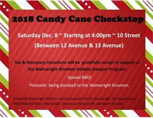 Candy Cane Checkstop @ 10 Street ( Between 12 ave & 13 ave)