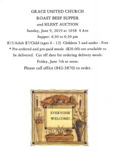 Grace United Church Roast Beef Supper & Silent Auction @ Grace United Church | Wainwright | Alberta | Canada