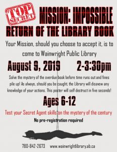 Mission: Impossible Return of the Library Book @ Wainwright Public Library | Wainwright | Alberta | Canada